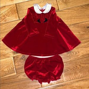 Little girls red velvet Christmas dress 6/9M